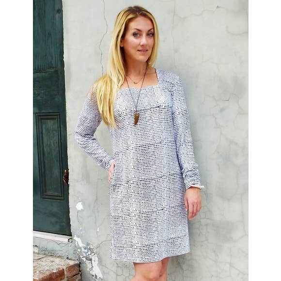 Long Sleeve, Ice & Dots Organic Jersey Dress