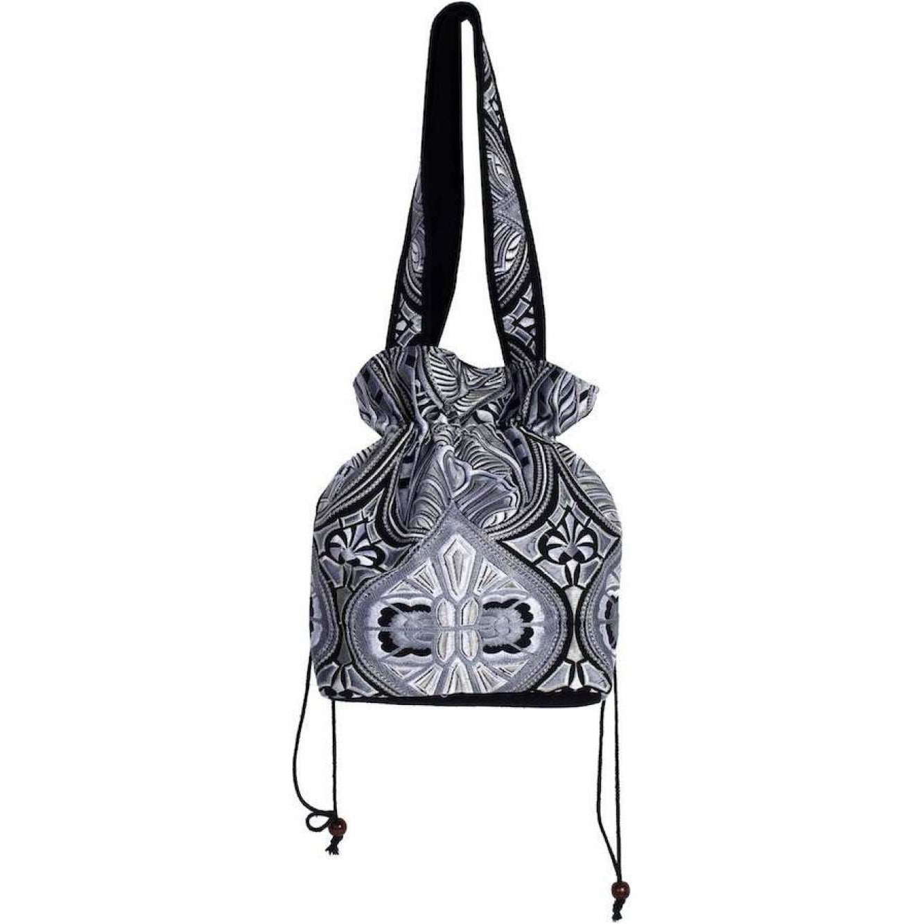 Handcrafted Tribal Black and White Shoulder Bag with Drawstring