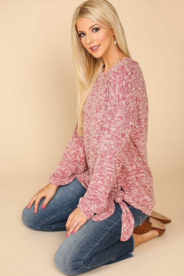 Brushed Hacci Round Neck Sweater