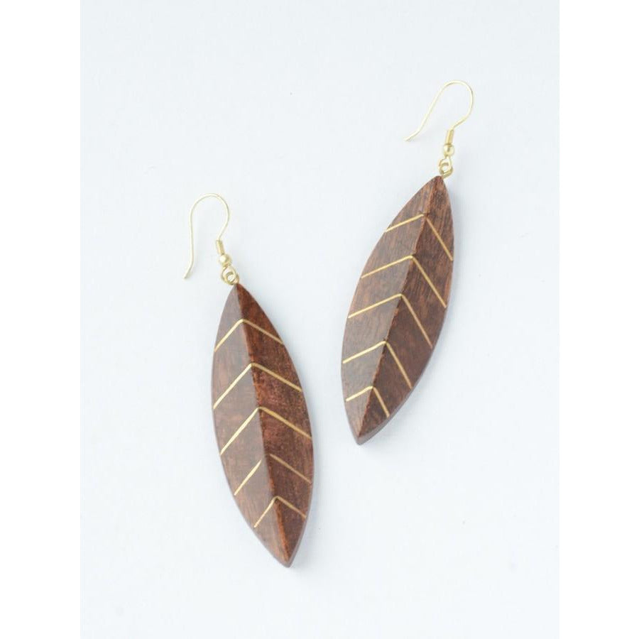 Hippie Style Brass Vein Leaf Earrings