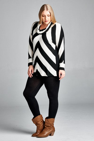 Oatmeal & Charcoal Striped Top