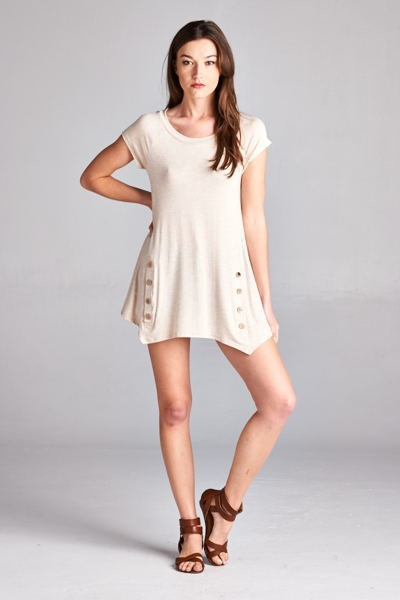 Solid Button Tunic Top