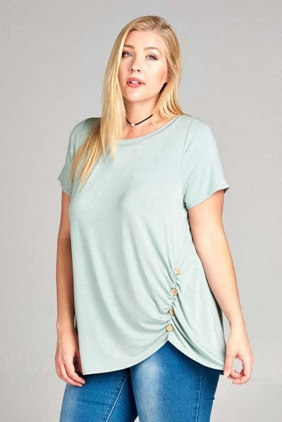 Blue Sage Buttoned Top