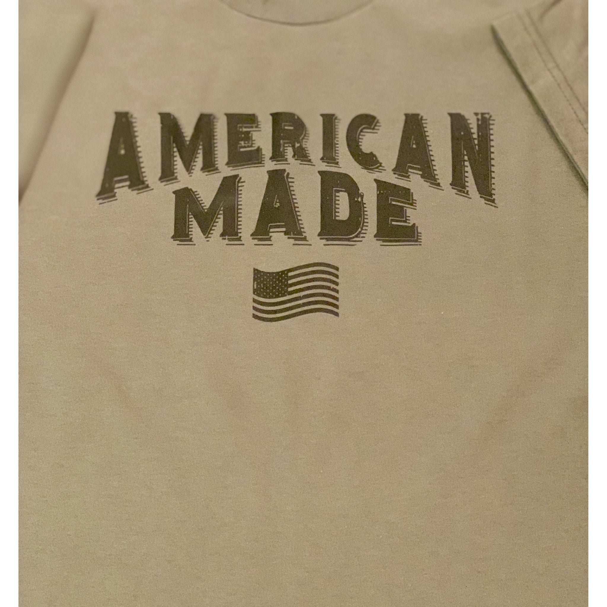 Short Sleeve Tee - American Made with Flag (Distressed)