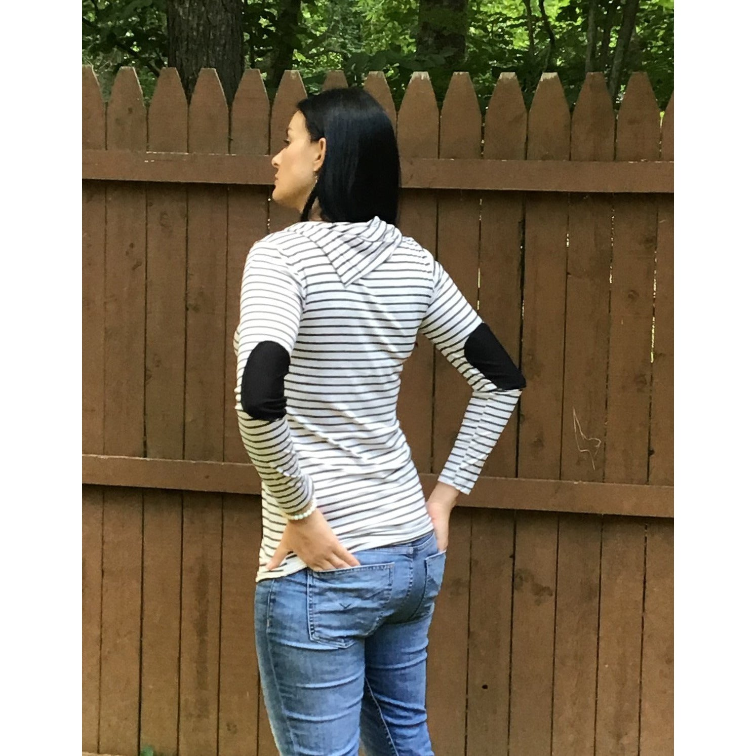 Comforable, Striped Cowl Neck Top