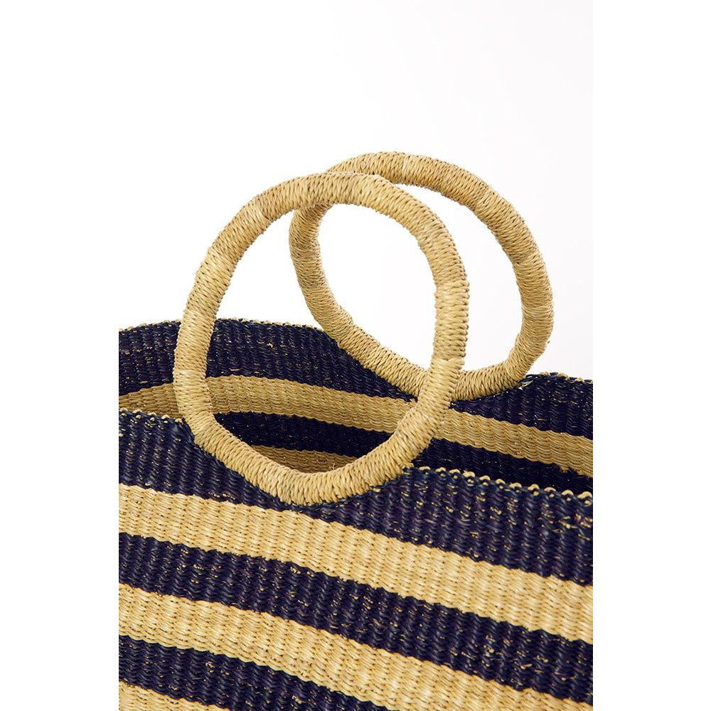 Midnight Blue Oversized Striped Shopping Bag
