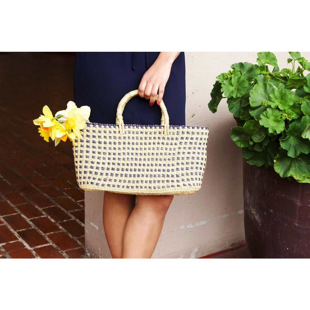 Navy Blue Checkered Ghanaian Slim & Trim Tote