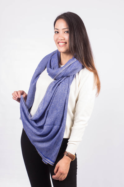 Light Blue Wool Blend Scarf