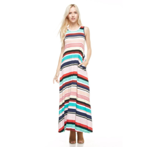 Sleevless Striped Maxi Dress with Pockets