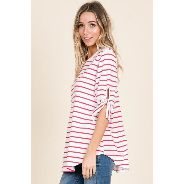 Striped & Flirty, Ribbon Sleeved Tunic