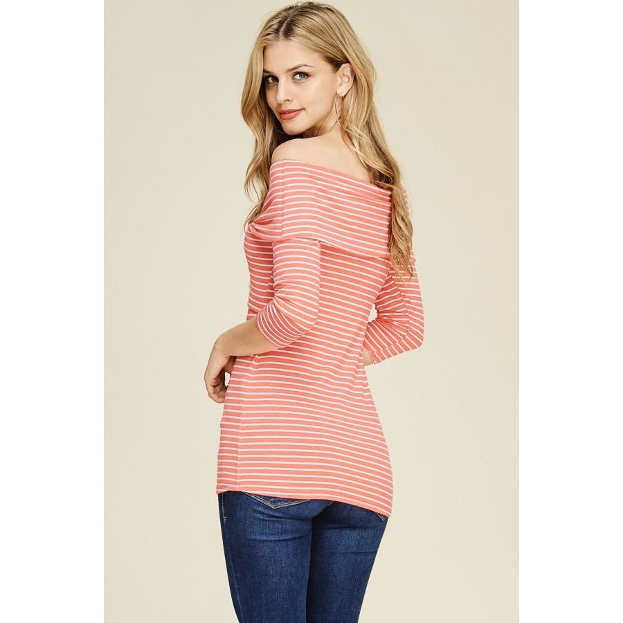 Off the shoulder, criss crossed, striped knit top with 3/4 sleeves