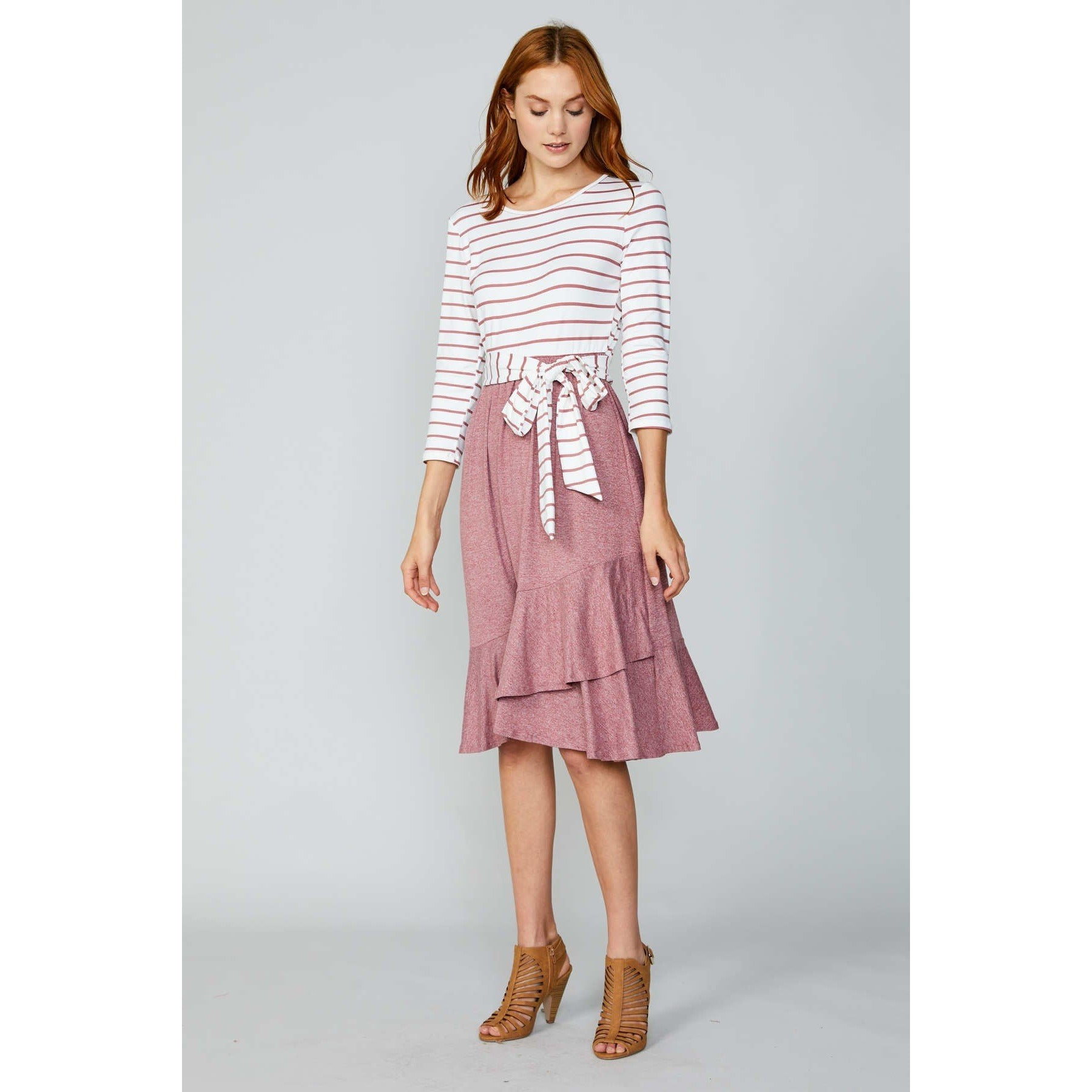 Striped & Solid Blush Midi Dress