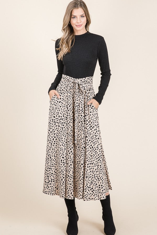 Black Spotted Midi Dress