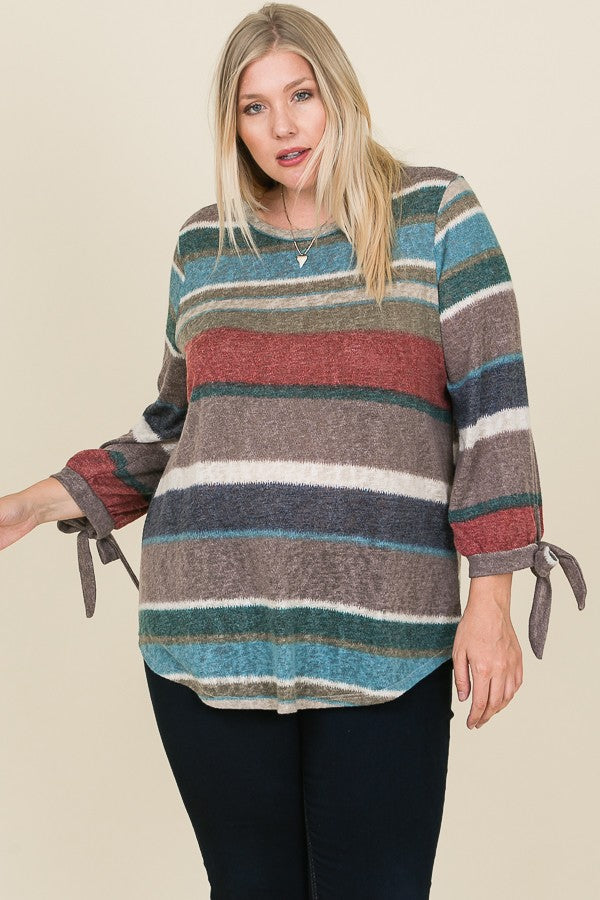 Multi Color Tunic Top with Ribbon Tied Sleeves