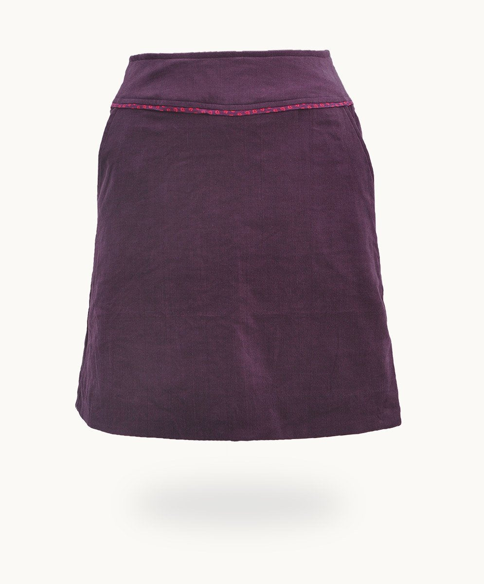 Plum Corduroy Skirt