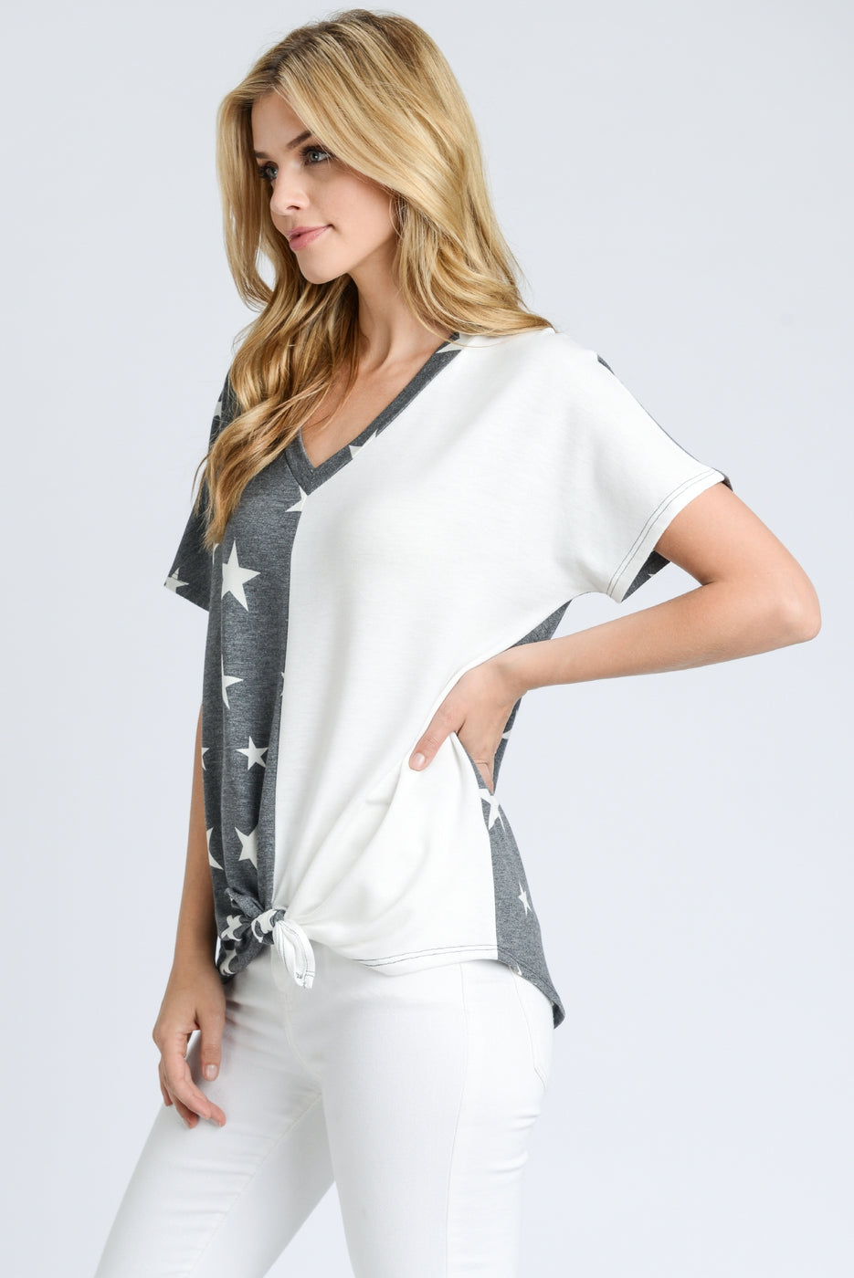 Short Sleeve Charcoal and Ivory Star Shirt