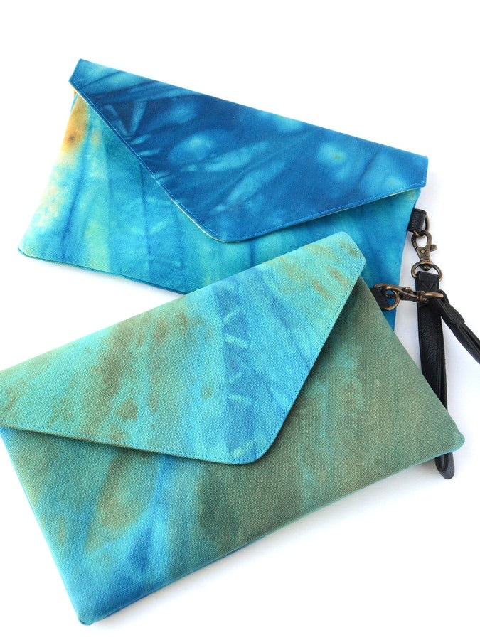 Ocean Waves Tie Dye Clutch