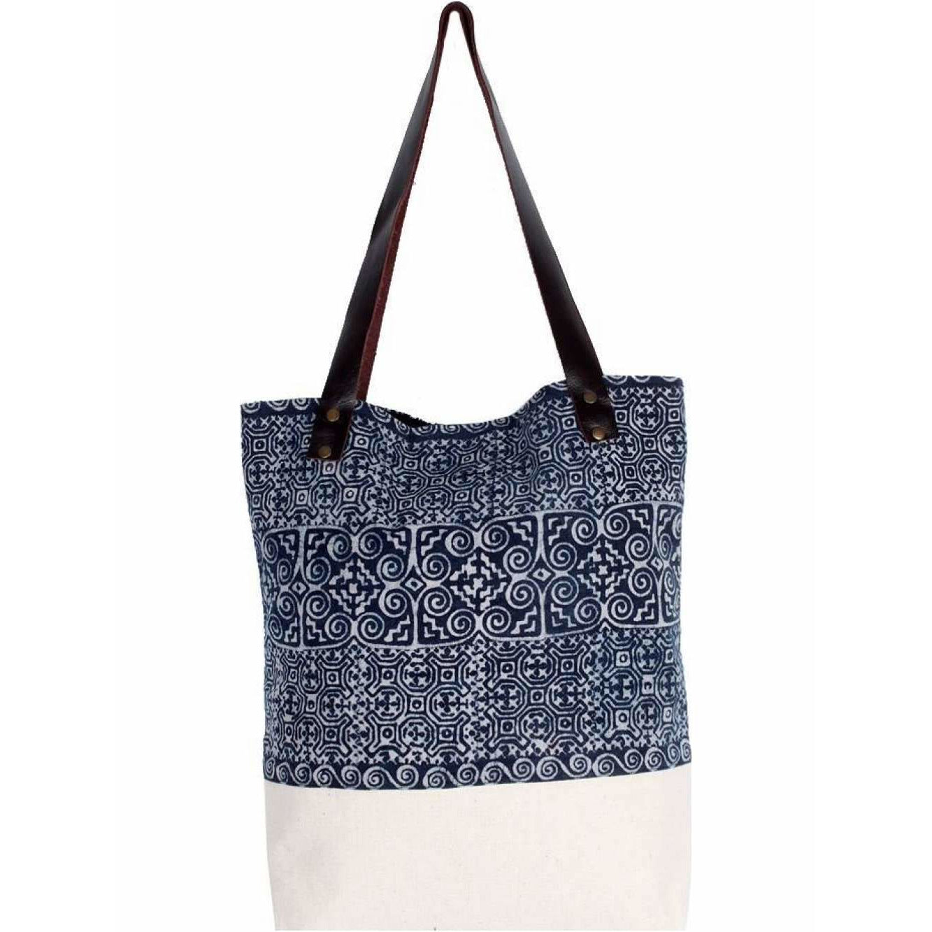 One Of A Kind Blue Batik Fabric Tote