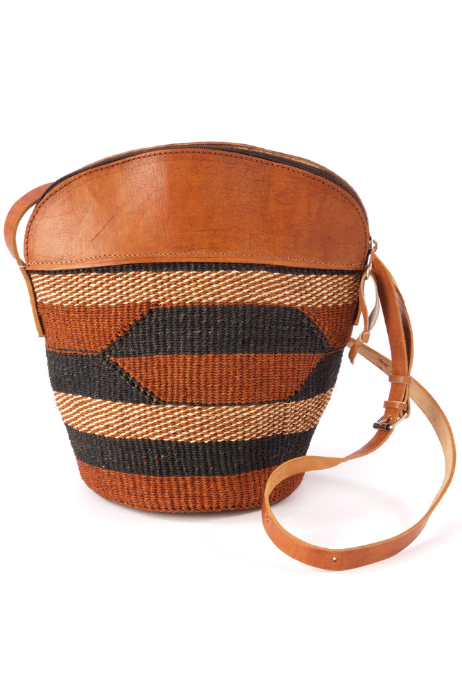 Finely Woven Sisal Handbag with Leather Top