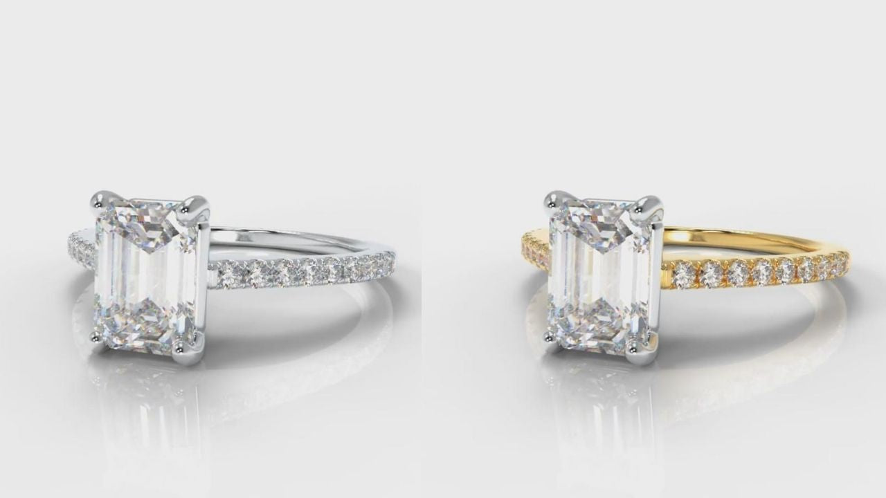 White gold and yellow gold emerald cut engagement ring