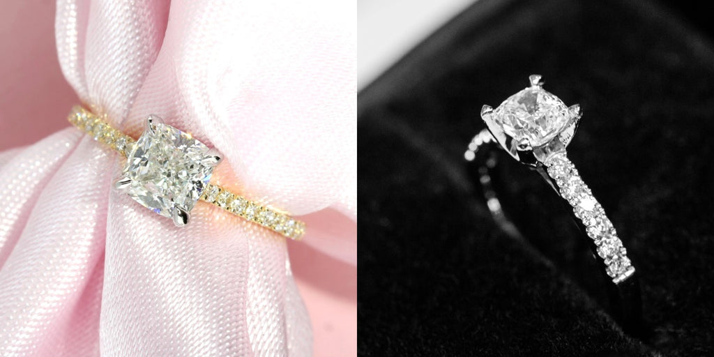 micropave cushion cut diamond engagement ring