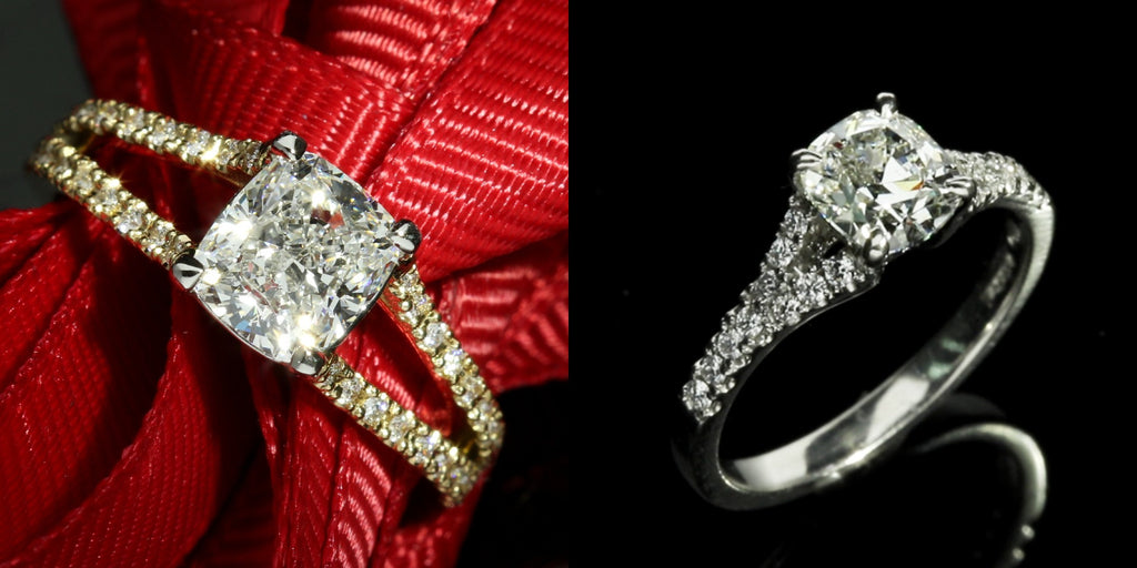 split shank cushion cut diamond engagement ring
