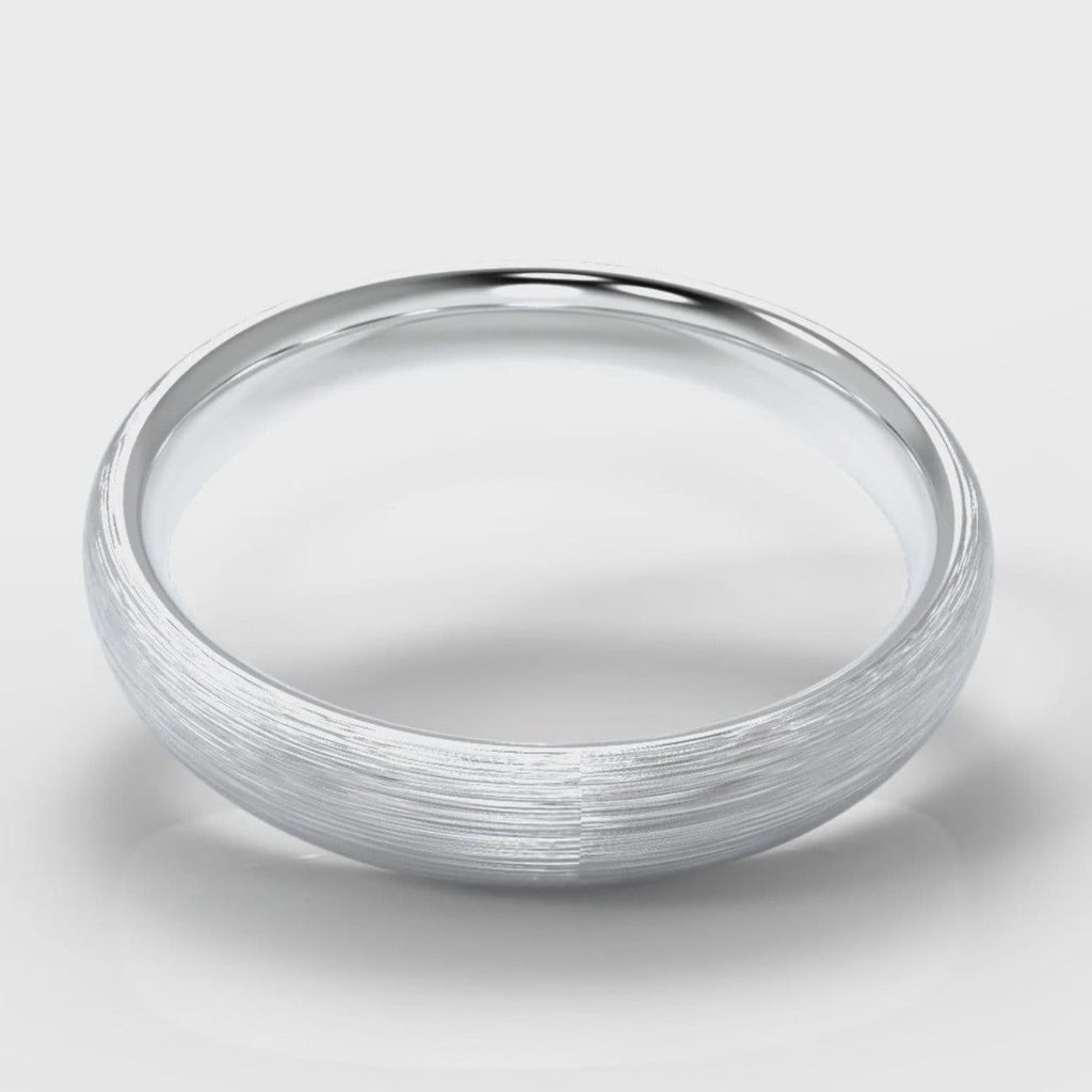4mm Court Shaped Comfort Fit Brushed Wedding Ring