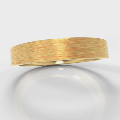 4mm Flat Top Comfort Fit Brushed Wedding Ring - Yellow Gold