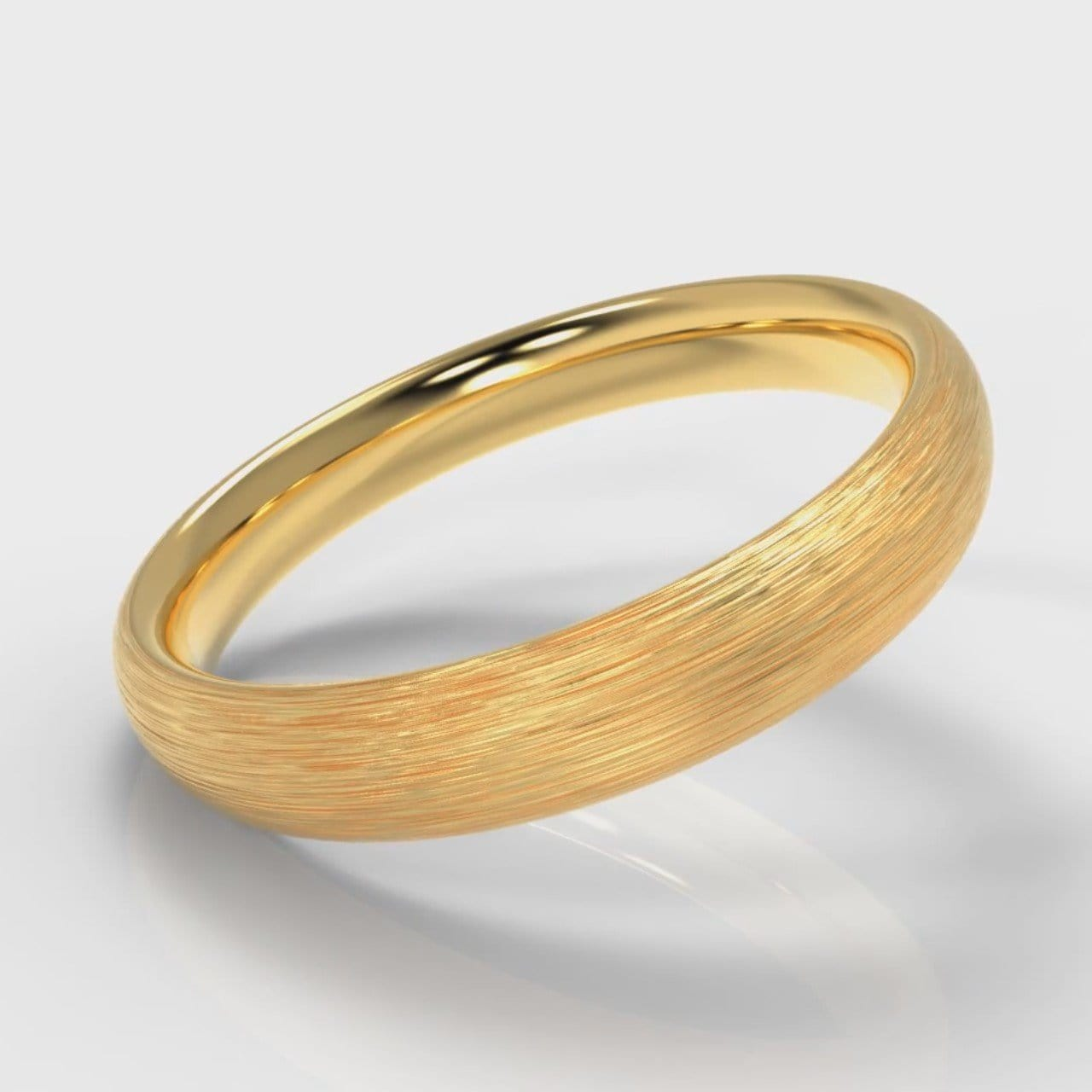 4mm Court Shaped Comfort Fit Brushed Wedding Ring - Yellow Gold