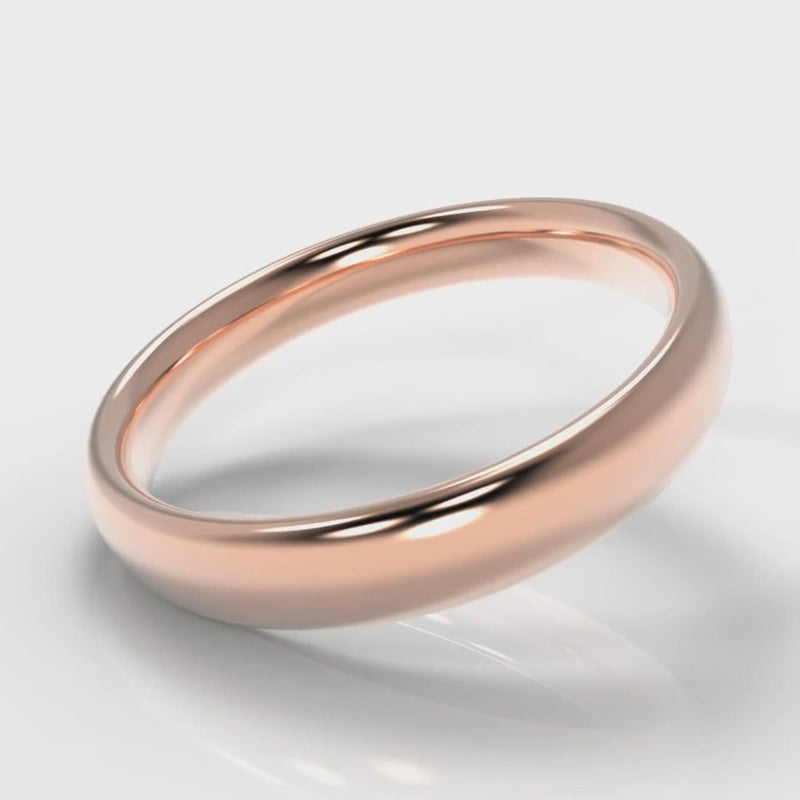 4mm Court Shaped Comfort Fit Wedding Ring - Rose Gold