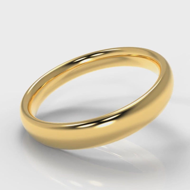 4mm Court Shaped Comfort Fit Wedding Ring - Yellow Gold
