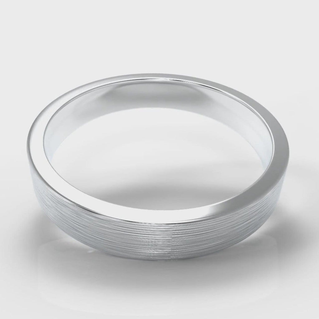 4mm Flat Top Comfort Fit Brushed Wedding Ring