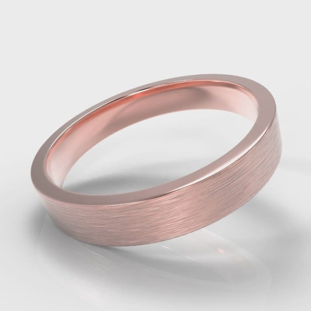 4mm Flat Top Comfort Fit Brushed Wedding Ring - Rose Gold
