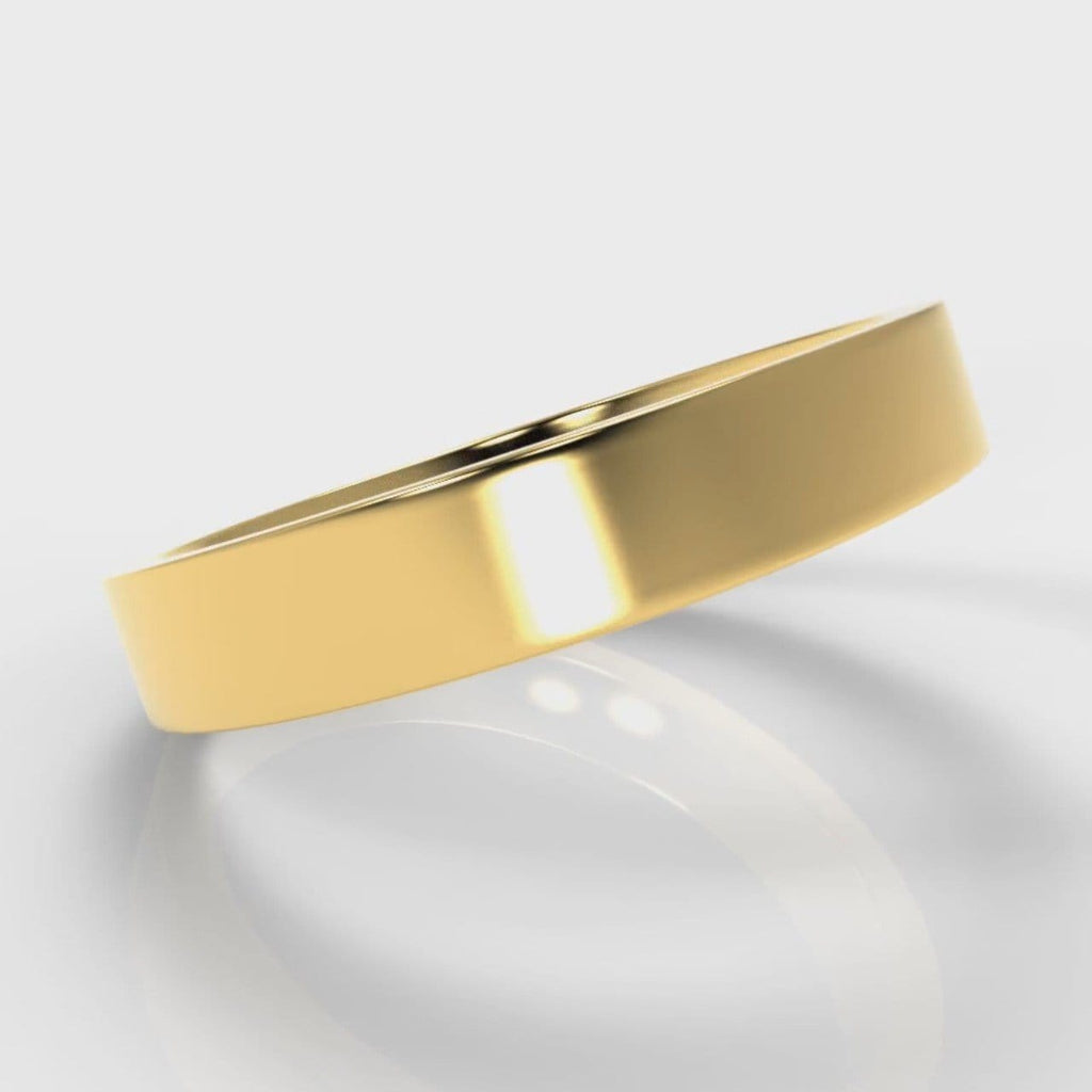 4mm Flat Top Comfort Fit Wedding Ring - Yellow Gold