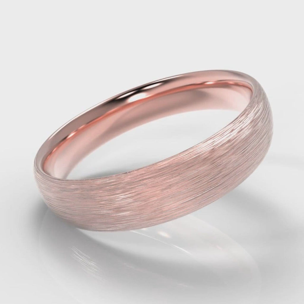 5mm Court Shaped Comfort Fit Brushed Wedding Ring - Rose Gold