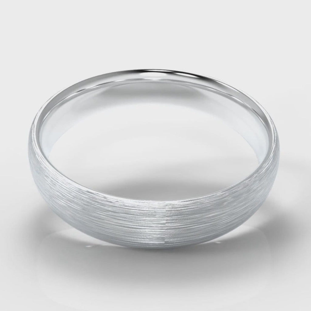 5mm Court Shaped Comfort Fit Brushed Wedding Ring