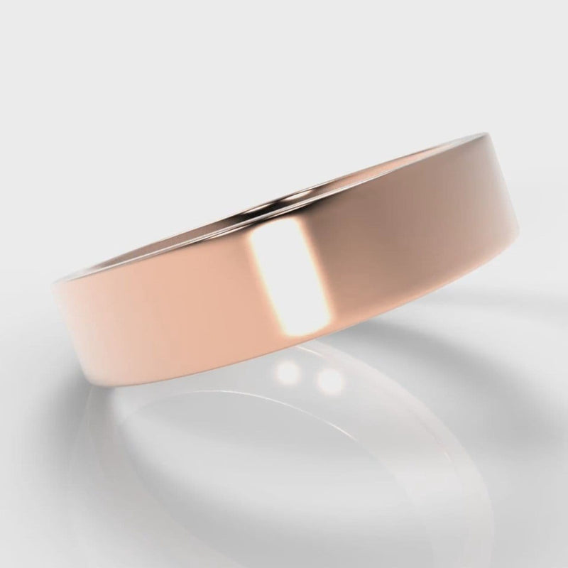 5mm Flat Top Comfort Fit Wedding Ring - Rose Gold