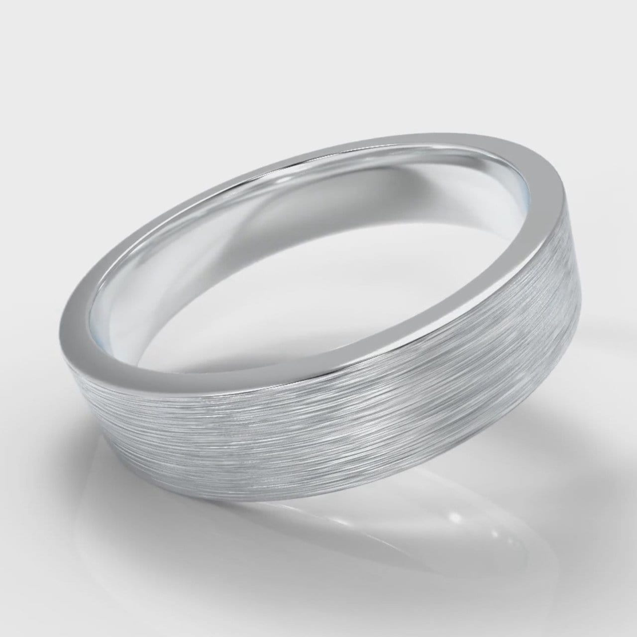 5mm Flat Top Comfort Fit Brushed Wedding Ring