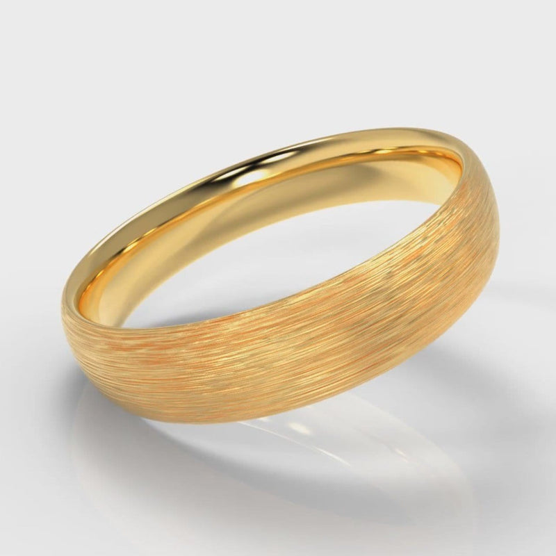 5mm Court Shaped Comfort Fit Brushed Wedding Ring - Yellow Gold