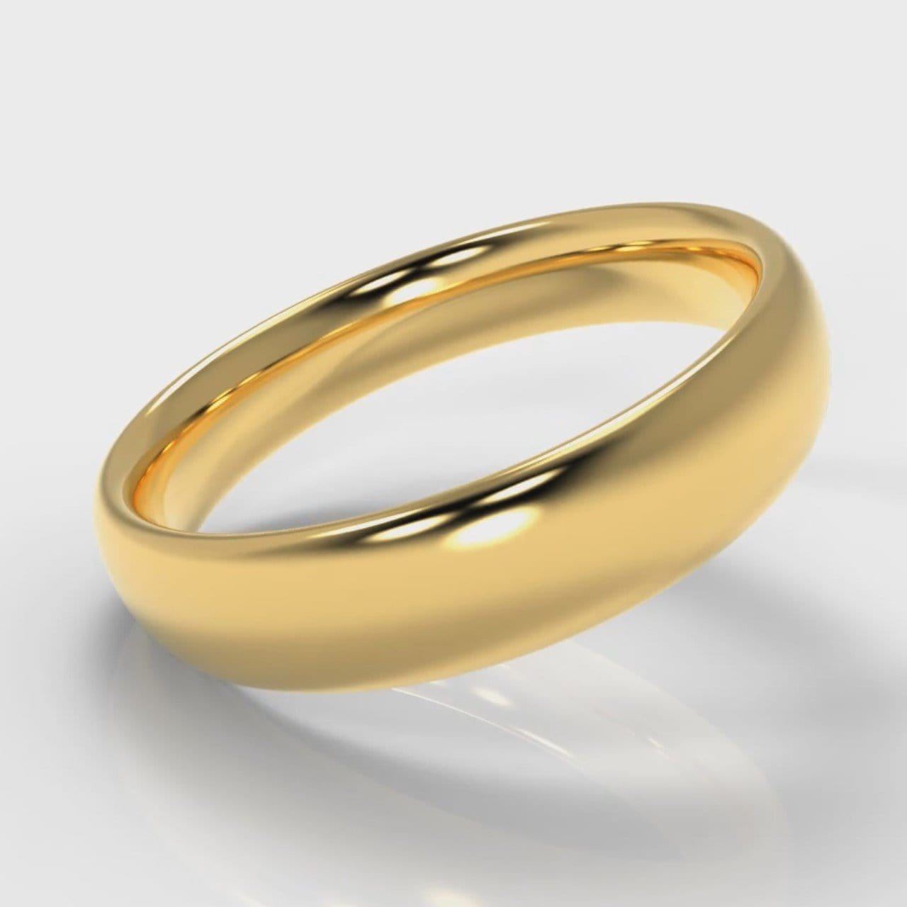 5mm Court Shaped Comfort Fit Wedding Ring - Yellow Gold