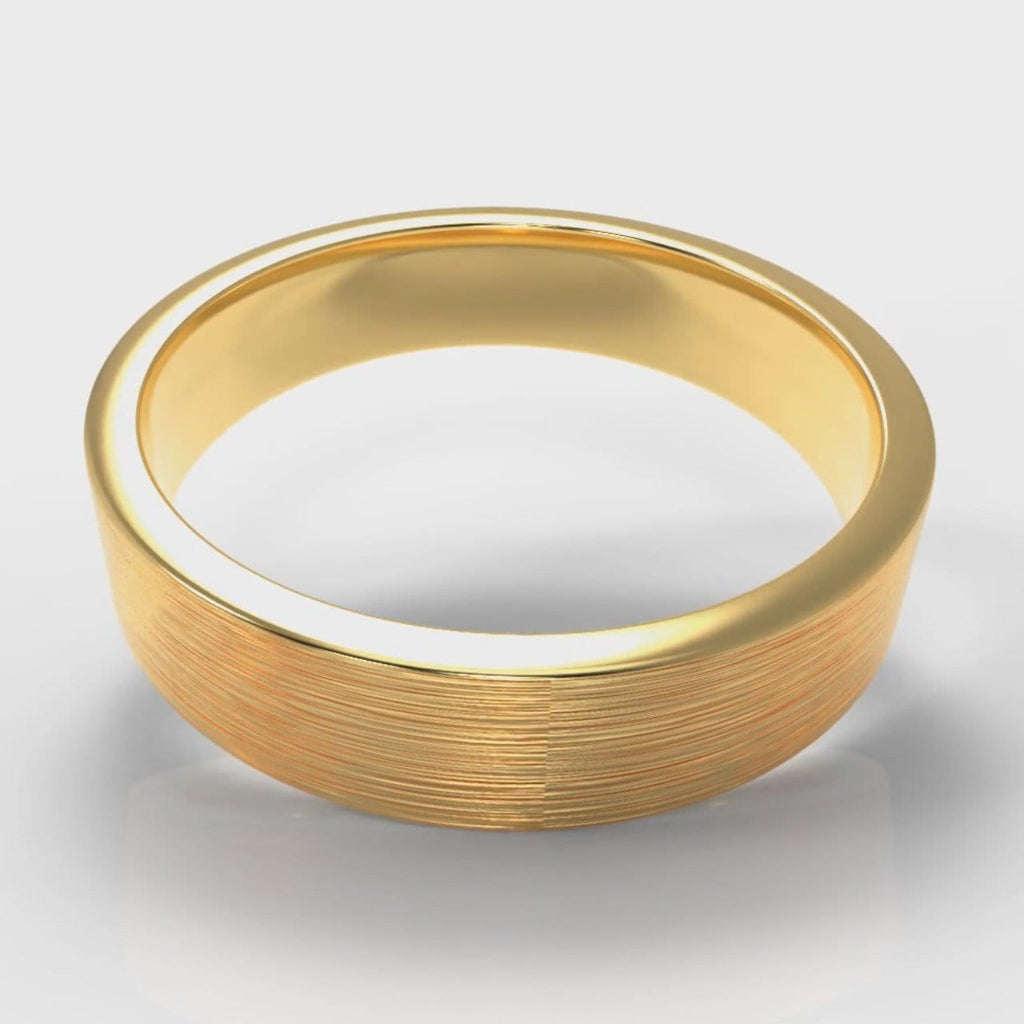 5mm Flat Top Comfort Fit Brushed Wedding Ring - Yellow Gold