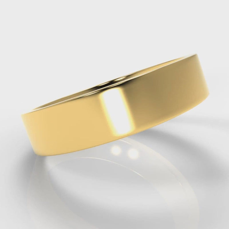 5mm Flat Top Comfort Fit Wedding Ring - Yellow Gold