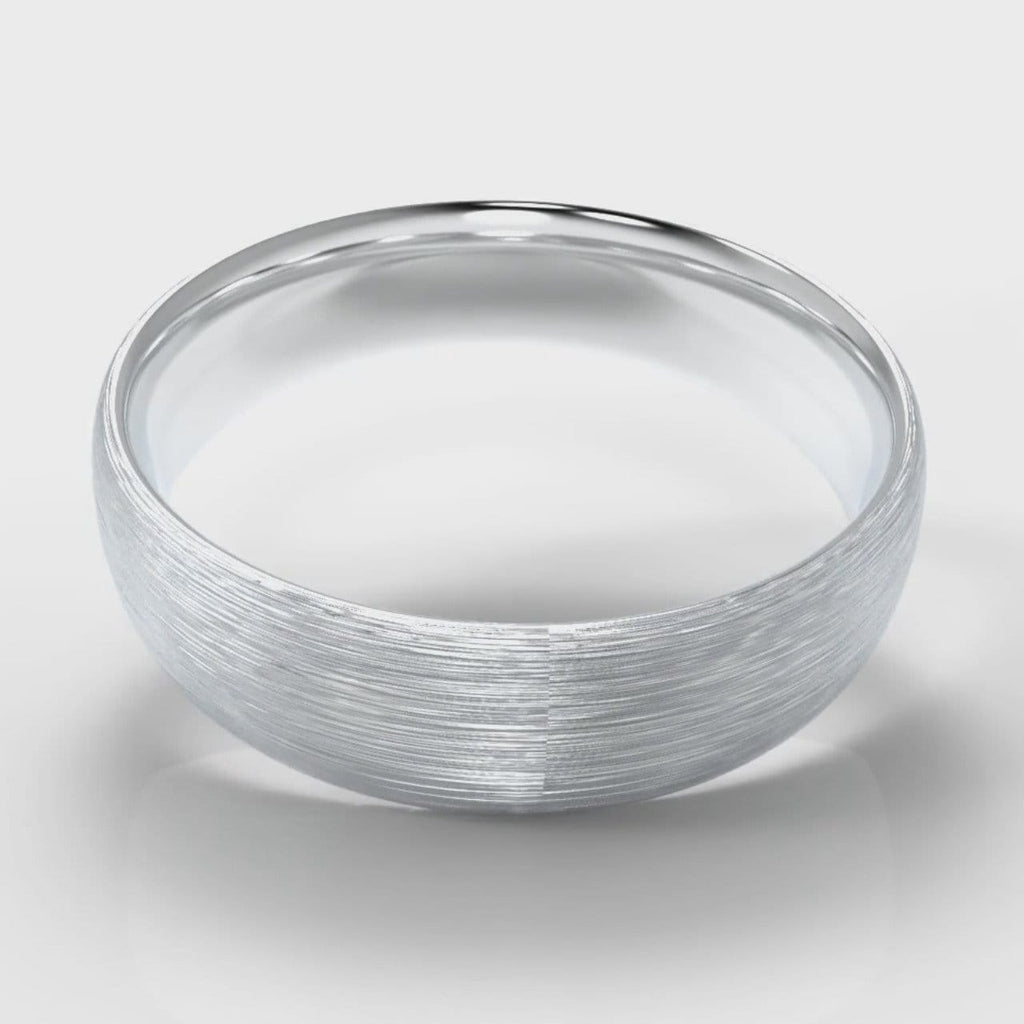 6mm Court Shaped Comfort Fit Brushed Wedding Ring