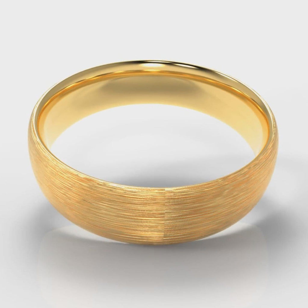 6mm Court Shaped Comfort Fit Brushed Wedding Ring - Yellow Gold