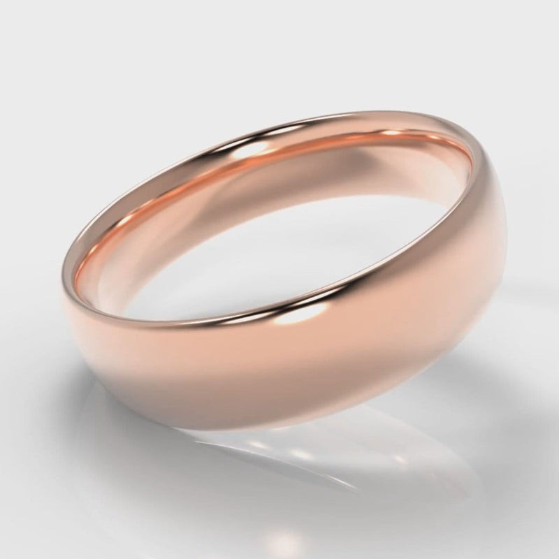 6mm Court Shaped Comfort Fit Wedding Ring - Rose Gold