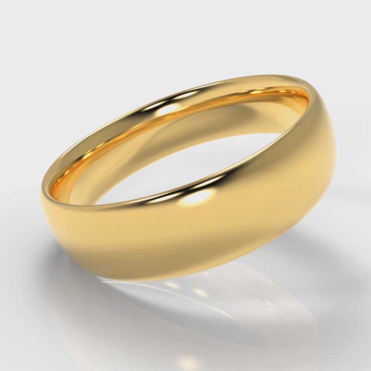 6mm Court Shaped Comfort Fit Wedding Ring - Yellow Gold