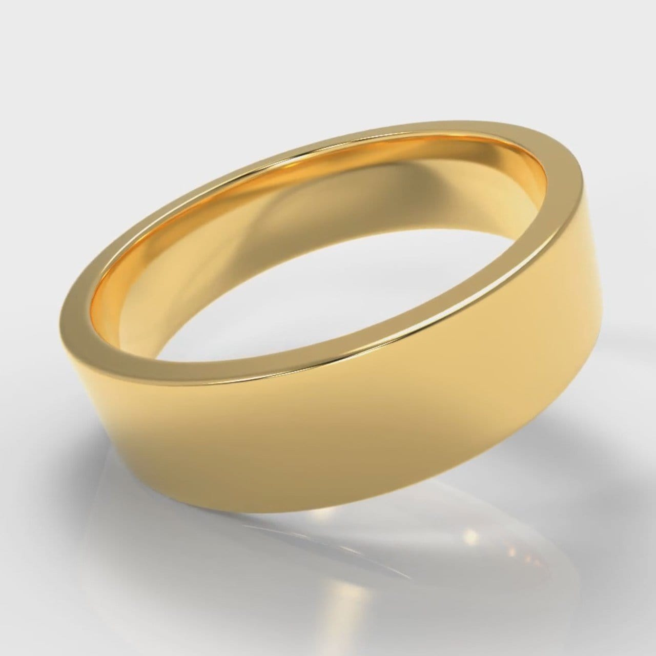 6mm Flat Top Comfort Fit Wedding Ring - Yellow Gold