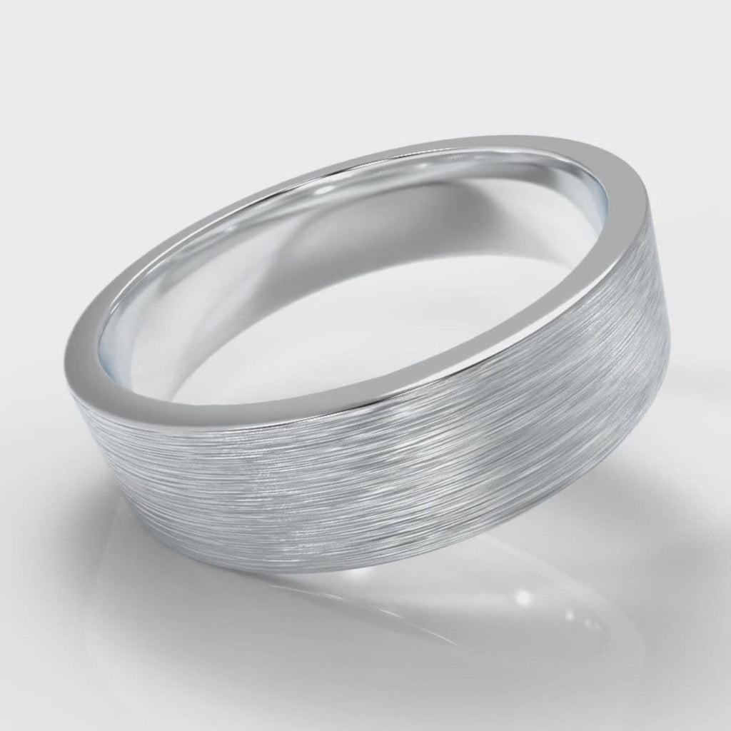 6mm Flat Top Comfort Fit Brushed Wedding Ring