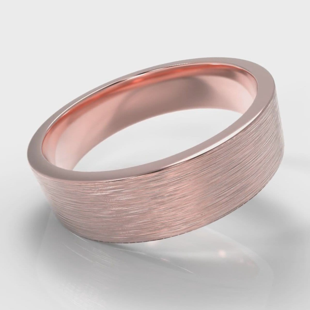 6mm Flat Top Comfort Fit Brushed Wedding Ring - Rose Gold