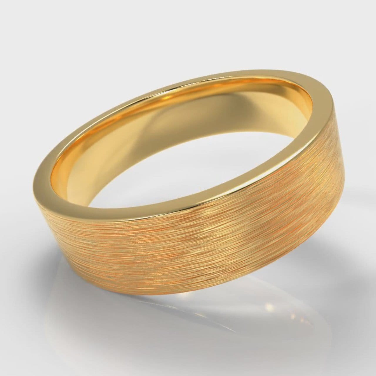 6mm Flat Top Comfort Fit Brushed Wedding Ring - Yellow Gold